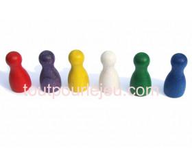 6 Pions Moyens 30 x 15 mm colorés en bois pour jeux