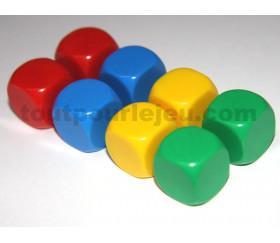 Dés neutres couleurs 14 mm rouge vert jaune bleu