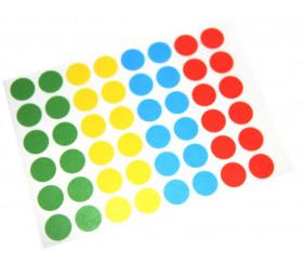 48 pastilles rondes autocollantes 12 mm en 4 couleurs