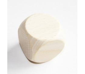 Grand dé vierge 40 mm en bois naturel neutre