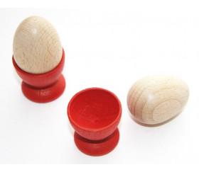 Coquetier et mini Oeuf en bois