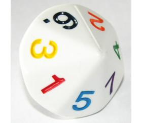 Dé 14 faces de 1 à 7 chiffres colorés 4 cm