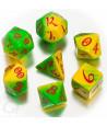 7 dés multifaces ELVEN dégradé vert jaune - style elfe