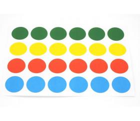 24 pastilles autocollantes 30 mm en 4 couleurs