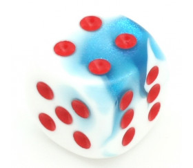 Dé mélange glacé bleu-blanc 16 mm points rouge