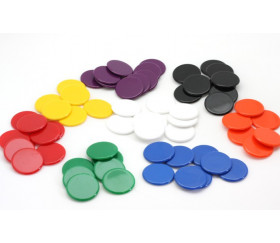 20 Jetons ronds 30 mm diamètre en plastique plat
