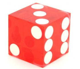 Dé Casino précision rouge transparent 19 mm coins droits