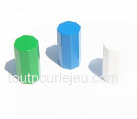 10 pions octogones 15 x 30 mm en bois pour jeu