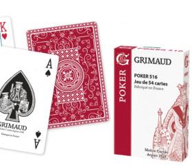 Jeu de Poker 516 Grimaud Origine - 54 cartes dos rouge