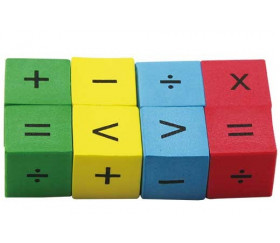 8 Dés opérations mathématiques avec signes mousse 22 mm silencieux