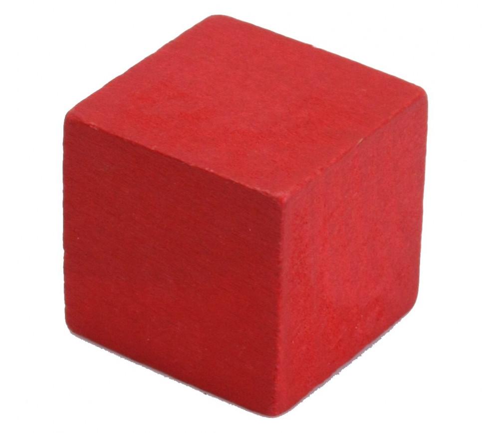 Cube 34 mm rouge vintage bois pour jeu
