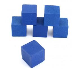 Cube 34 mm bleu vintage bois pour jeu