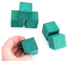 Cube 34 mm vert vintage bois pour jeu