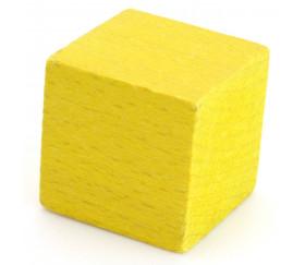 Cube 34 mm jaune vintage bois pour jeu