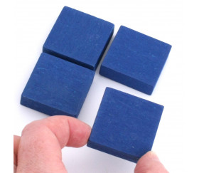 Pavé 34 x 34 x 10 mm jeton bleu carré épais