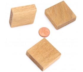 Pavé 34 x 34 x 10 mm jeton bois naturel carré épais