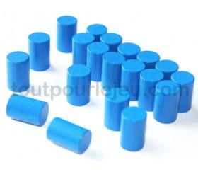 10 mini cylindres bleu 10x15 mm en bois coloré pour jeu