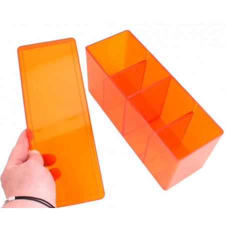 Boite 4 compartiments orange plastique 20 x 9.5 x 7 cm