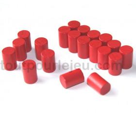 10 mini cylindres rouge 10x15 mm en bois coloré pour jeu
