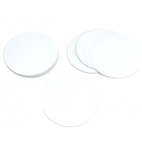 54 cartes rondes 90 mm blanches  à personnaliser