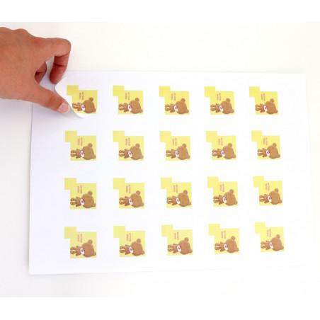 20 Pastilles rondes 50 mm autocollantes blanches étiquettes