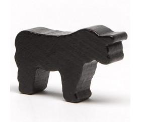 Pion taureau noir en bois 35 x 25 x 10 mm.
