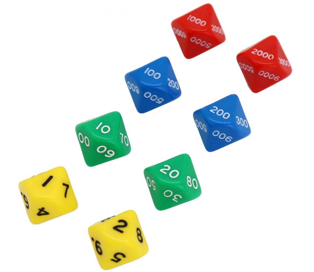8 grands dés compatibles base 10 : unité, dizaine, centaine, millier 10 faces