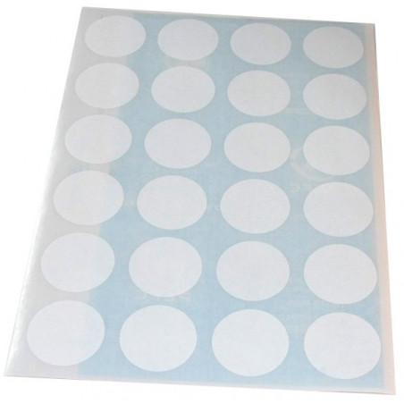 Lot de 24 pastilles autocollantes blanches 30 mm
