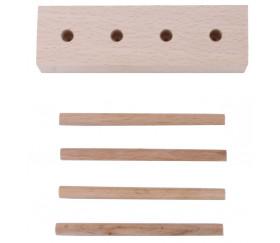 Abaque de tri bois - Socle 4 tiges + 40 jetons