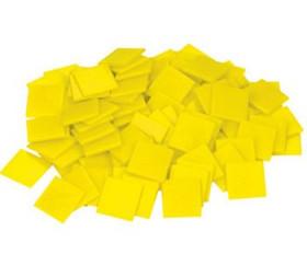 100 Mini carrés plats de 1 cm jaune plastique