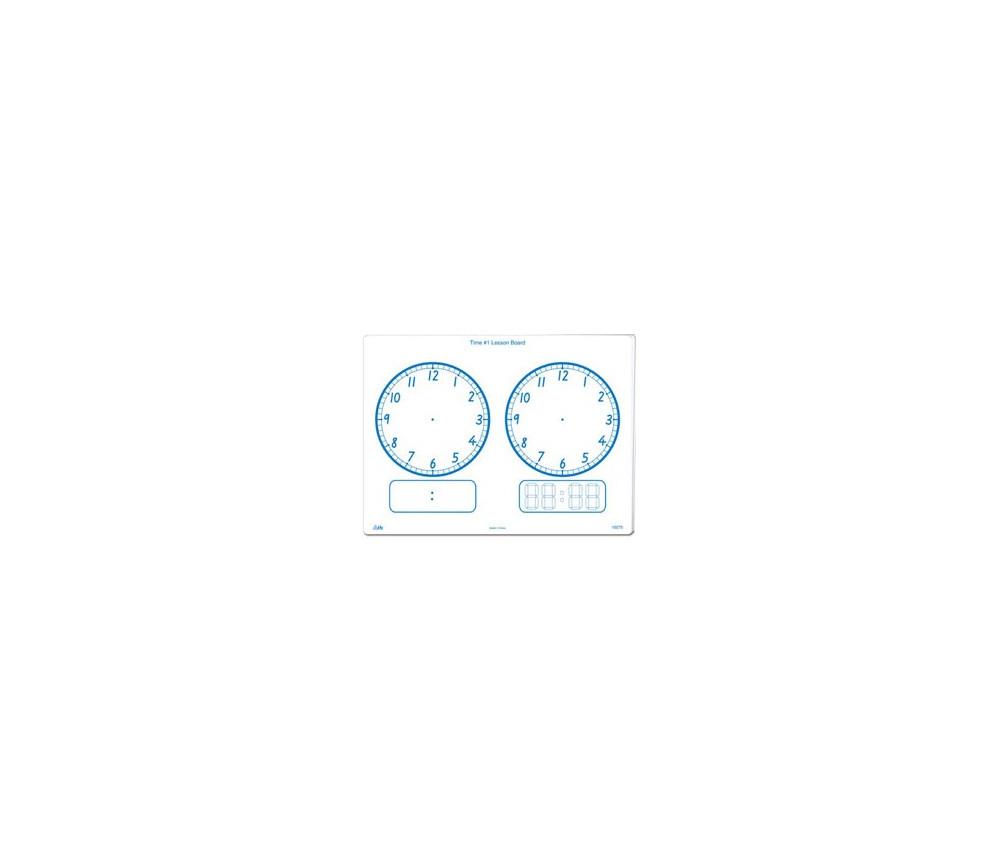 Ardoise blanche effaçable avec 2 horloges résistante