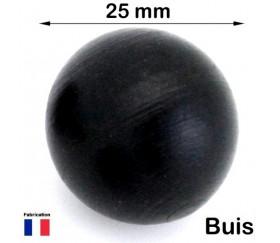 Boule 25 mm noire bois buis