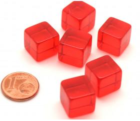 Cube 12 mm rouge plastique translucide coloré