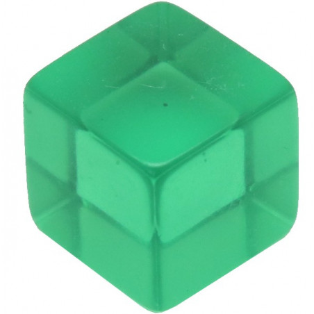 Cube 12 mm vert plastique translucide coloré