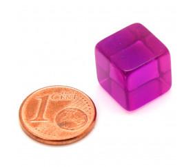Cube 12 mm violet plastique translucide coloré