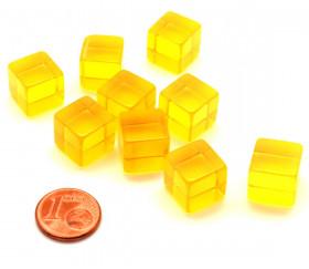 Cube 12 mm jaune plastique translucide coloré