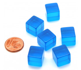 Cube 12 mm bleu plastique translucide coloré