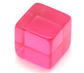 Cube 12 mm rose plastique translucide coloré