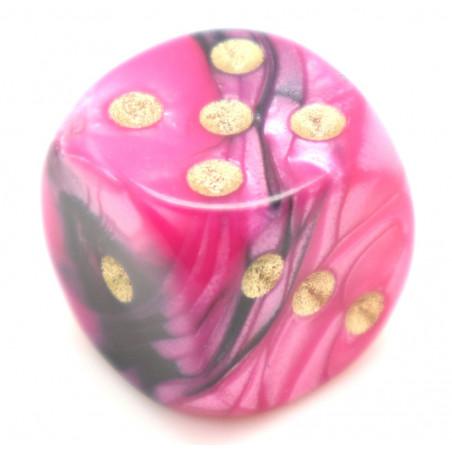 Dé mélange rose noir design effet artistique 15 mm points dorés
