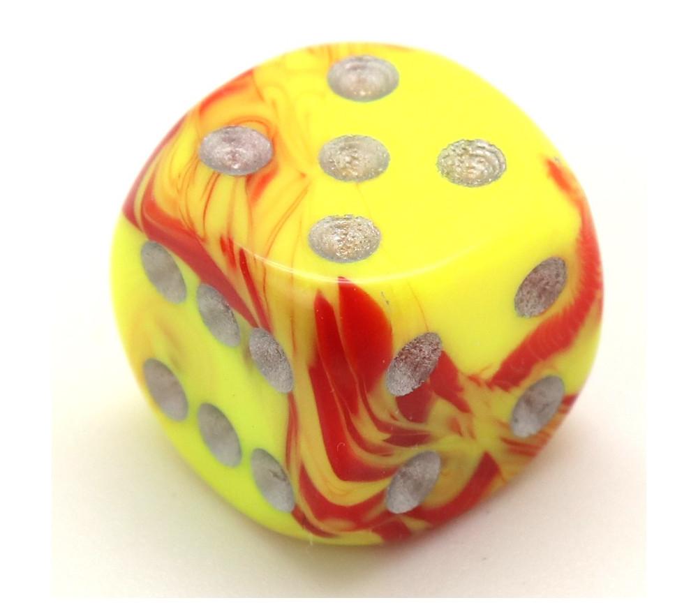 Dé design jaune rouge peps effet artistique 15 mm points argentés