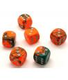 5 Dés designs effet artistique 15 mm colorés