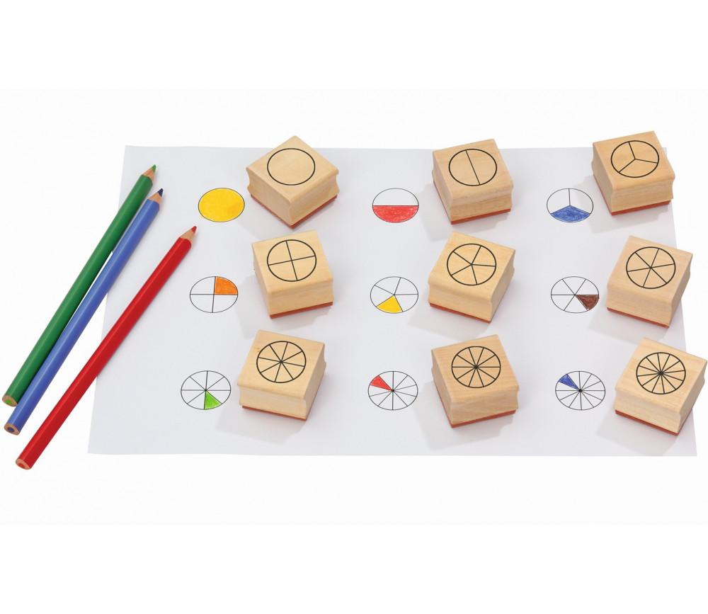 9 tampons fractions en rond