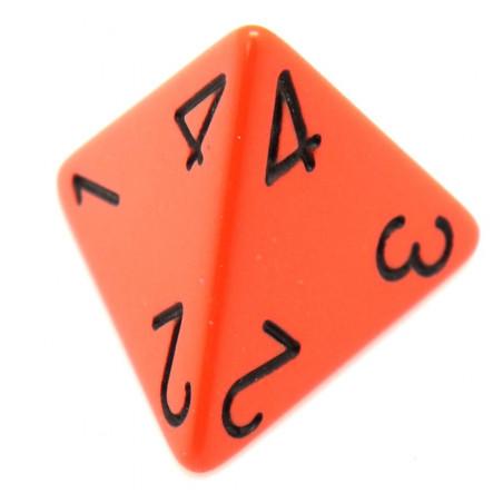 Dé 4 faces 1 à 4 opaques jeux de rôle d4 orange