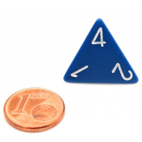 Dé 4 faces 1 à 4 opaques jeux de rôle d4 bleu