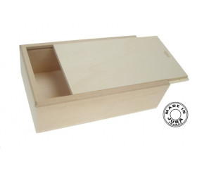 Coffret bois naturel format tarot pour cartes, billes ou mini jeux - couvercle glissière