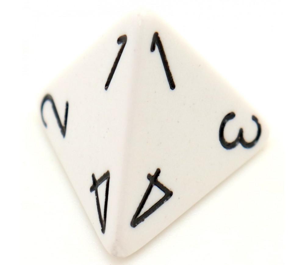Dé 4 faces 1 à 4 opaques jeux de rôle d4 blanc
