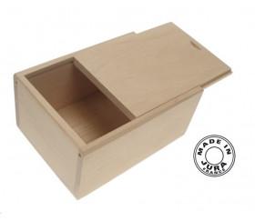 Coffret bois naturel format 54 cartes - couvercle glissière