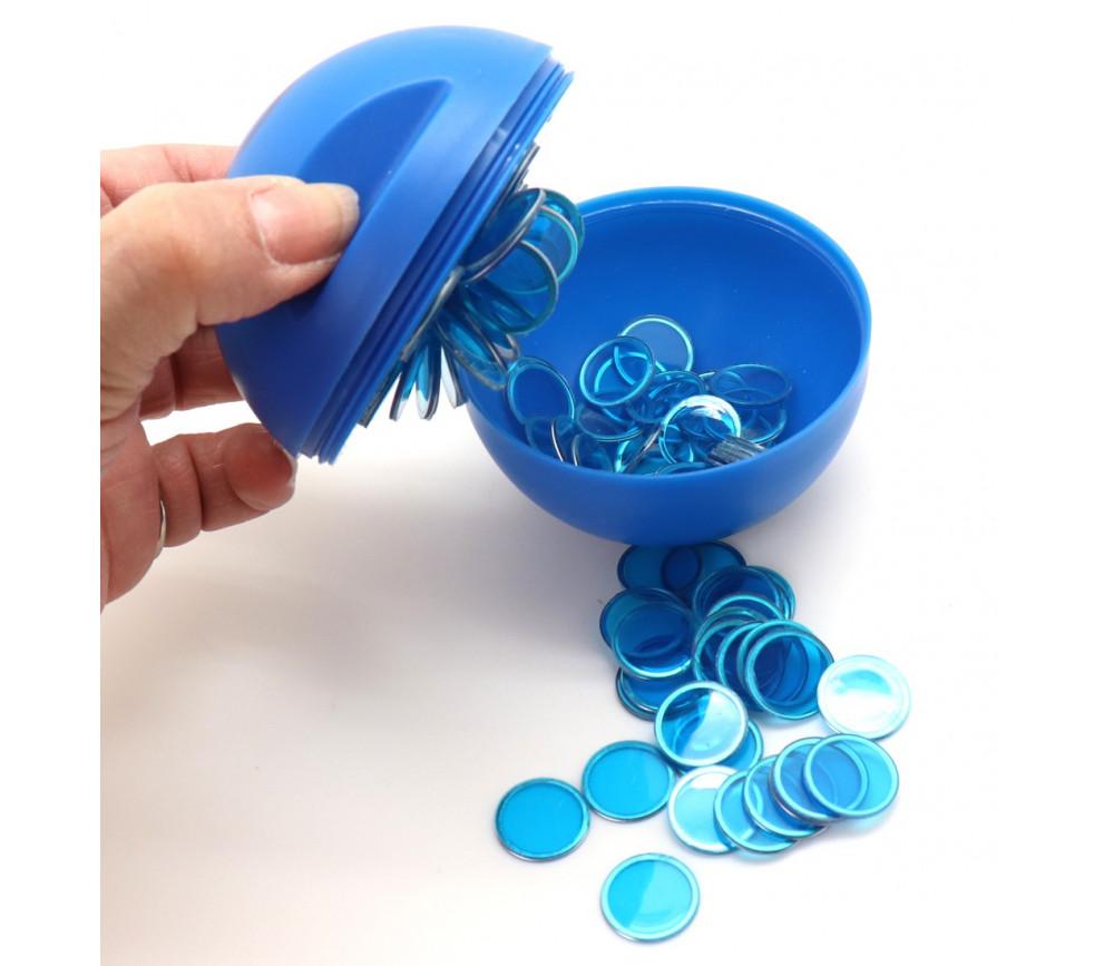 Boule loto bleu rangement avec pions magnétiques