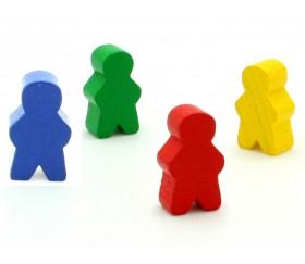 4 Pions personnage en bois bonhomme meeple lot de 4 pions garçons