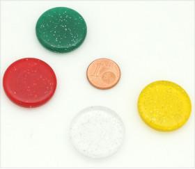 4 jetons pailletés épais 25 x 5 mm galets